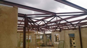 Steel trusses manufactured and installed in a office park in Centurion.